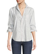 Frank & Eileen Star-Print Cotton Button-Down Long-Sleeve Top