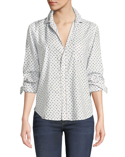 Star-Print Cotton Button-Down Long-Sleeve Top