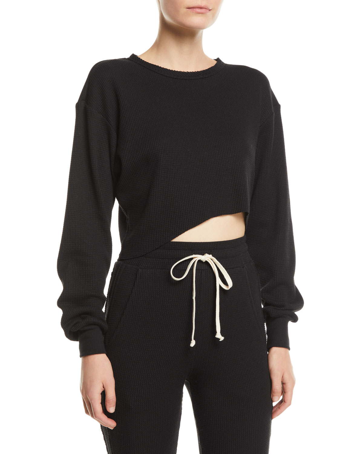 TWENTY Everest Cropped Thermal Top in Black