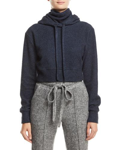 Maddux Hooded Turtleneck Jersey Sweatshirt, Dark Blue