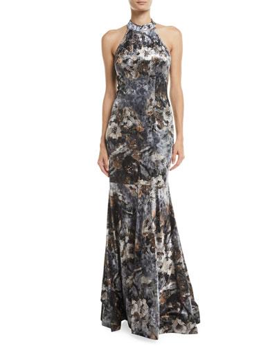 Devore Floral Velvet Halter Gown