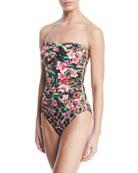Carmen Marc Valvo Floral Leopard Bandeau One-Piece Swimsuit