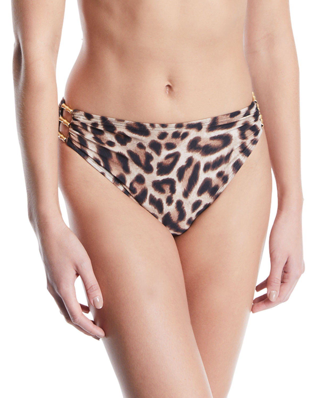 CARMEN MARC VALVO Leopard- Printed High-Waist Bikini Bottoms Women'S Swimsuit in Animal Print