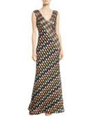 Jovani Multicolor V-Neck Sleeveless Gown