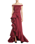 Jovani Off-Shoulder Ruffle Cascade Gown
