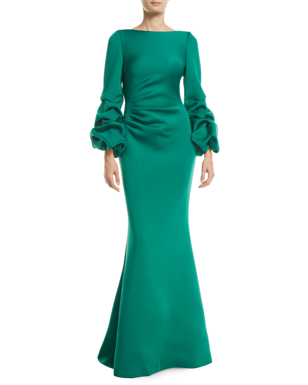 Shirred Balloon-Sleeve Gown