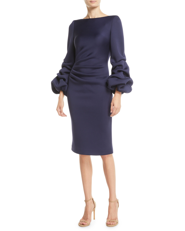 Shirred Balloon-Sleeve Dress