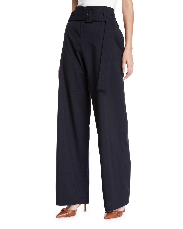 Ava Belted High-Waist Wide-Leg Trousers