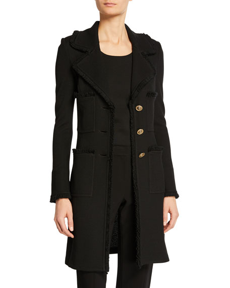 St. John Collection Milano Pique Fit and Flare Topper Coat