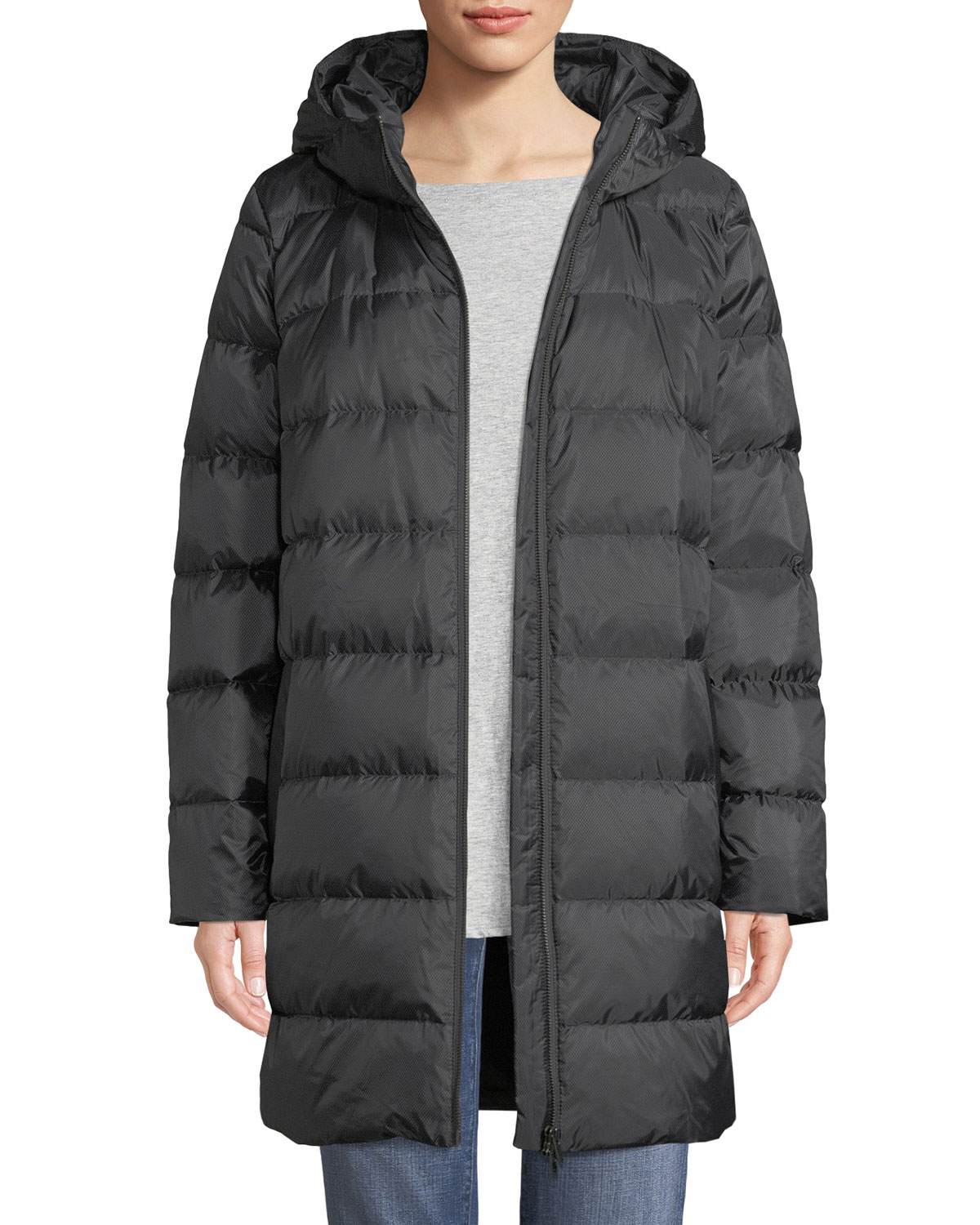 Recycled Polyester Hooded Cocoon Coat, Regular & Petite in Charcoal/Ash