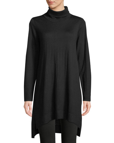 Merino Jersey Turtleneck Sweater Dress