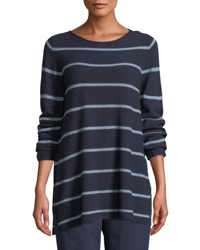 Striped Wool-Blend Pullover Sweater