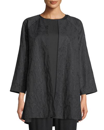 Shimmer Jacquard Long Open-Front Jacket