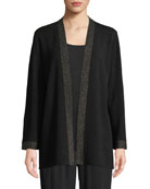 Eileen Fisher Merino Metallic Open-Front Cardigan