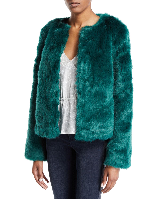 LOVERS+FRIENDS Nyc Faux-Fur Jacket in Jade