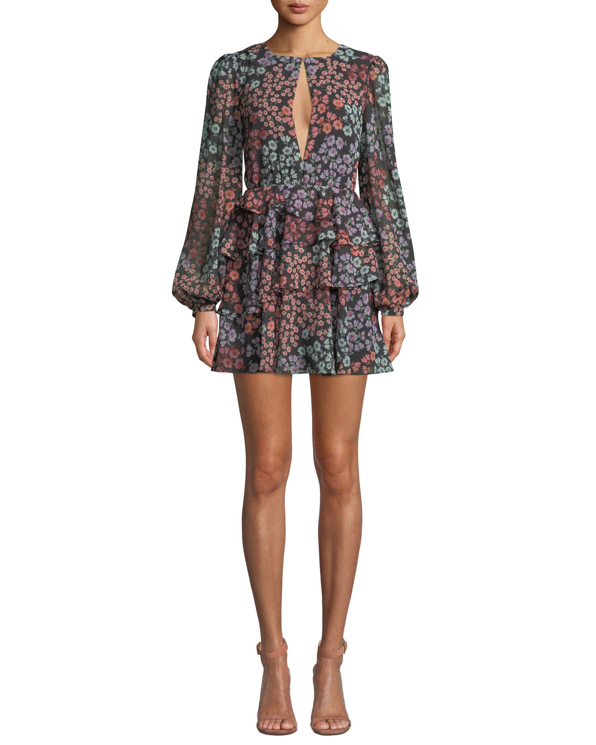 LOVERS+FRIENDS Carter Tiered Floral Long-Sleeve Short Dress in Multi