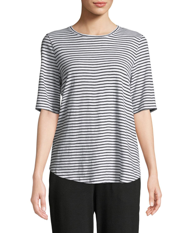 Half-Sleeve Organic Cotton Striped Tee, Petite in White/Black