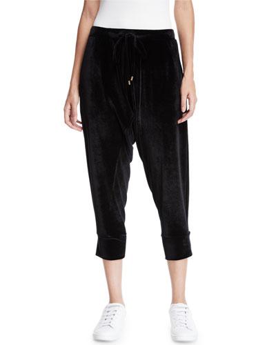 Plus Size Stretch-Velvet Drawstring Cropped Slouchy Pants