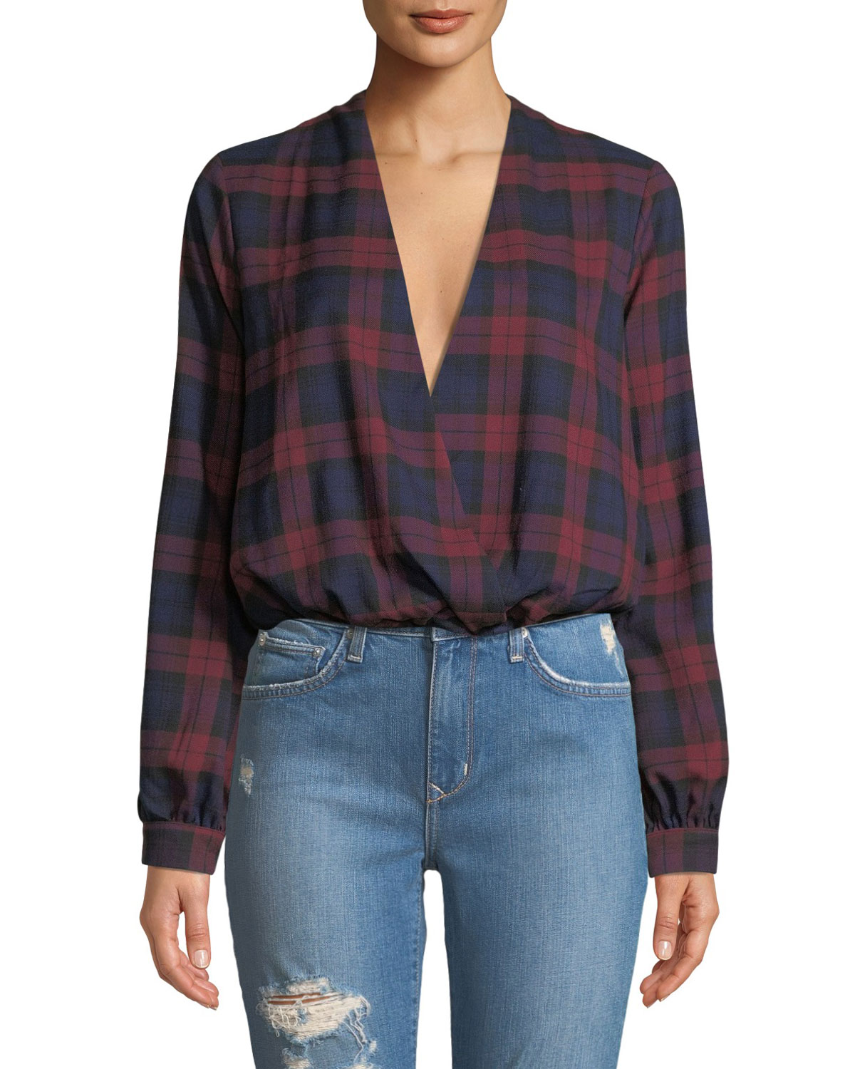 LOVERS+FRIENDS Whisper Plaid Chiffon Cropped Top in Red/Black