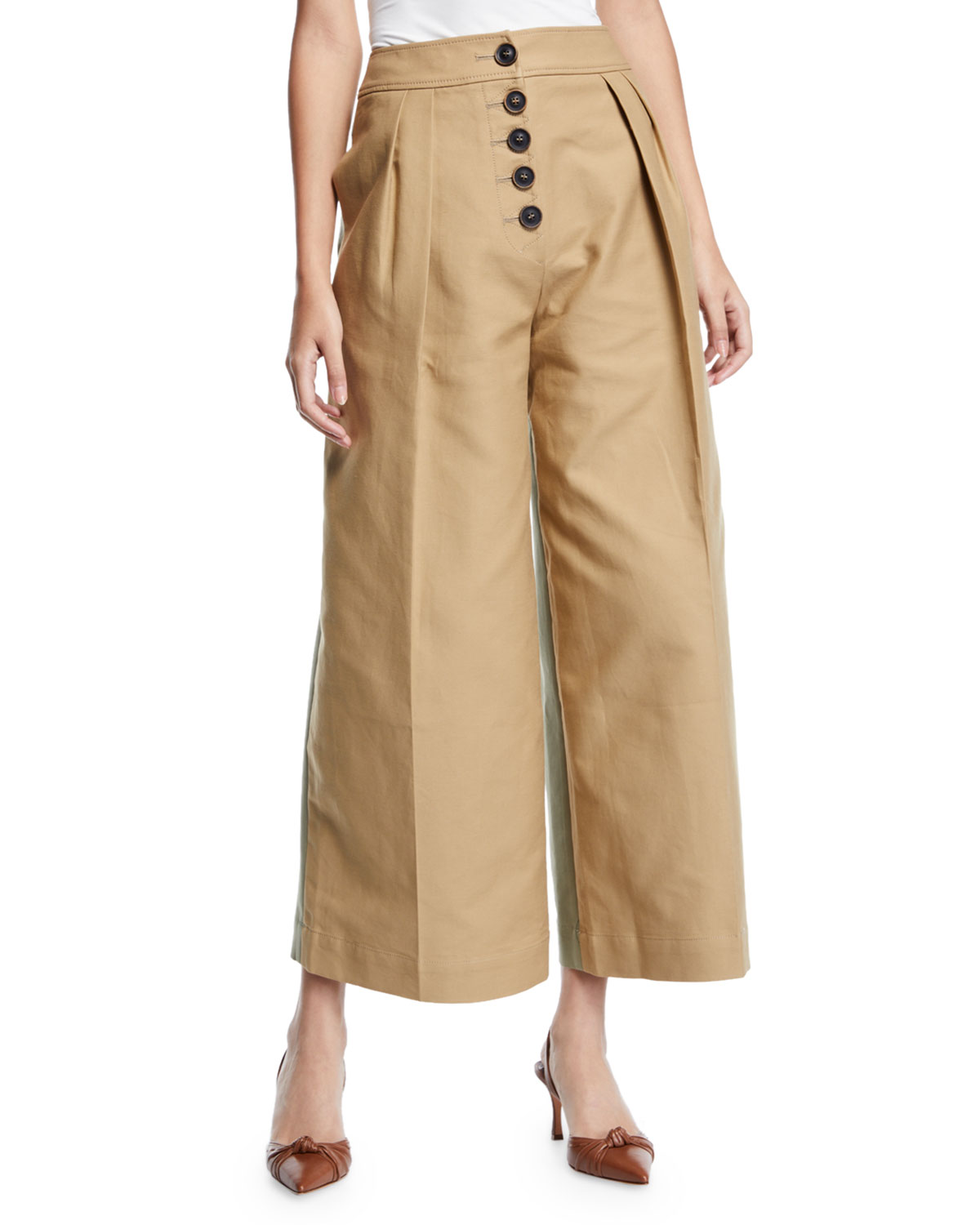 Brodie Pleated Cropped Wide-Leg Trousers