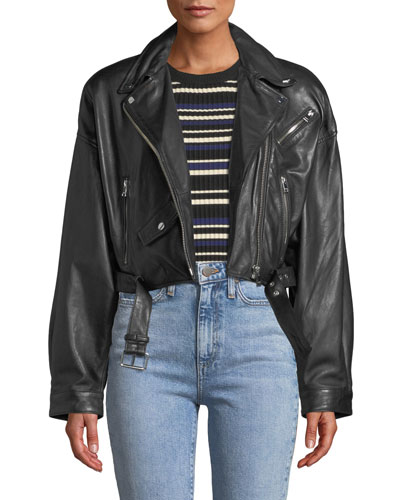 4c78169f9e9e Quick Look. LaMarque · Dylan Dropped-Shoulder Cropped Leather Biker Jacket.  Available in Black