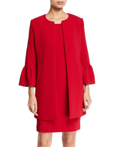Two-Piece Trumpet-Sleeve Coat & Mini Dress Set