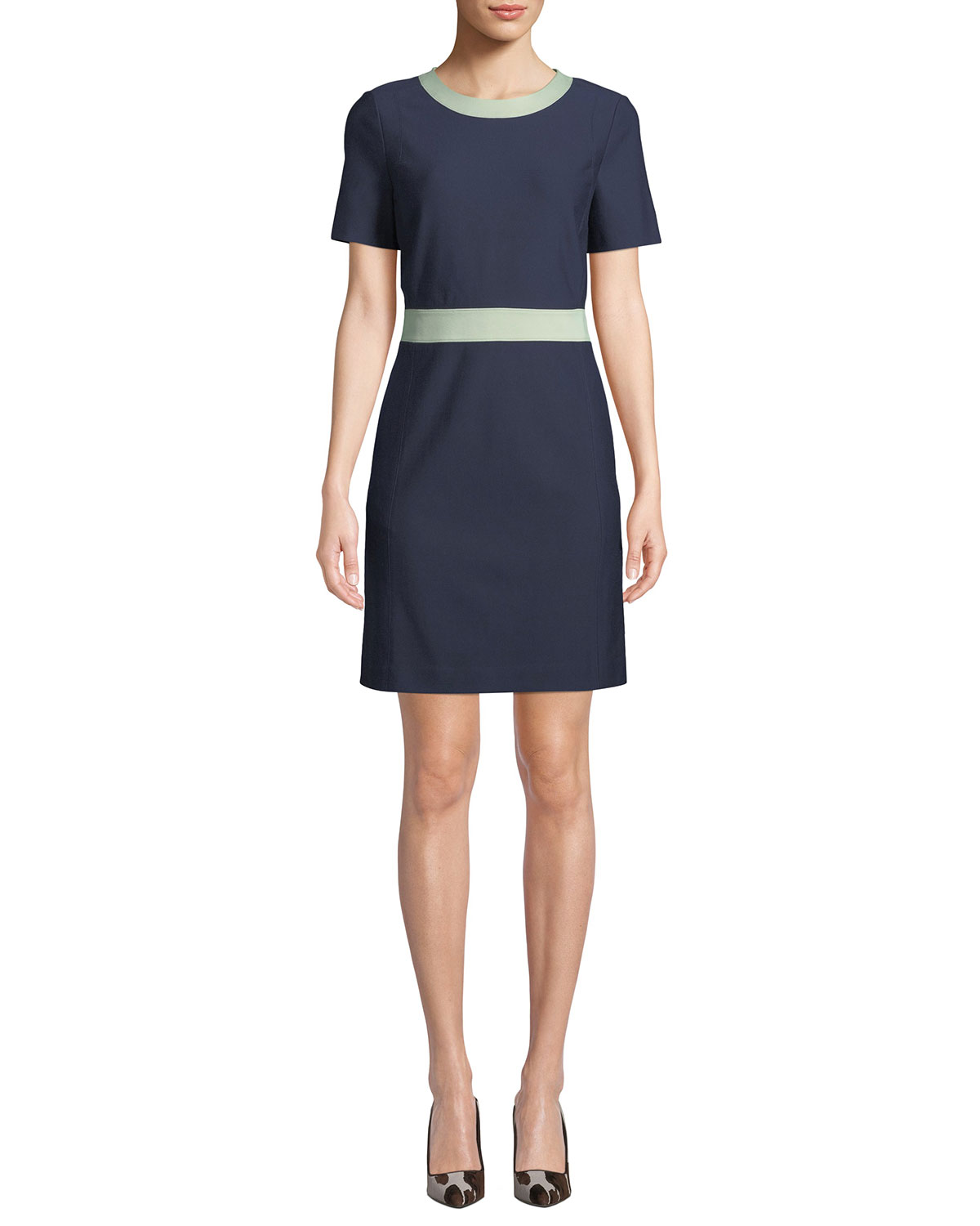 TORY BURCH Colorblock Ponte Short-Sleeve Dress in Blue