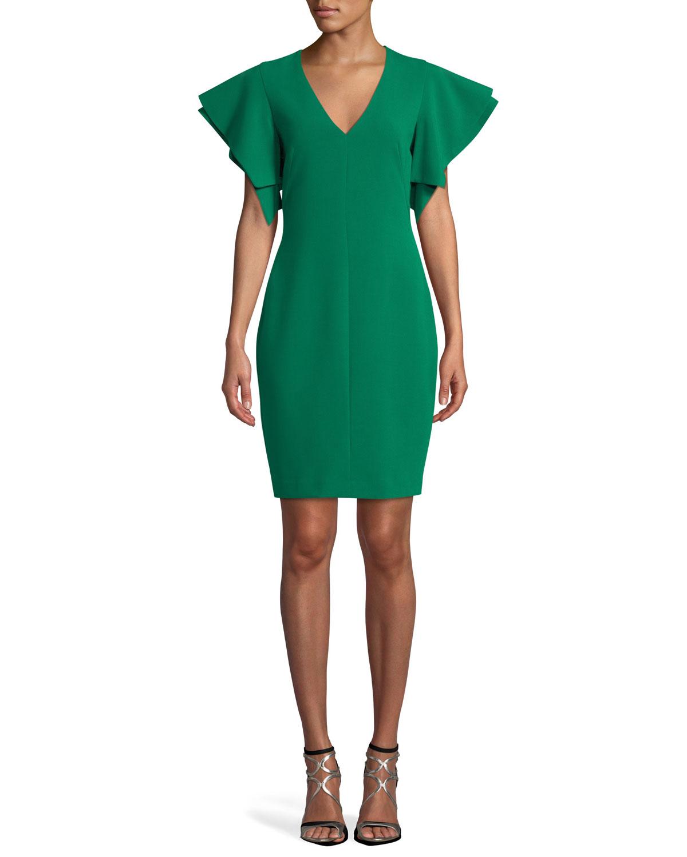 Simona Ruffle-Sleeve V-Neck Dress