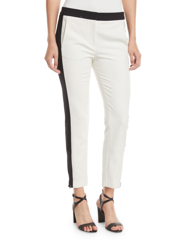 Anson Stretch Skinny Tuxedo Pants, White Pattern