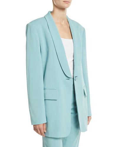 Boxy Oversized Stretch Suiting Tuxedo Blazer