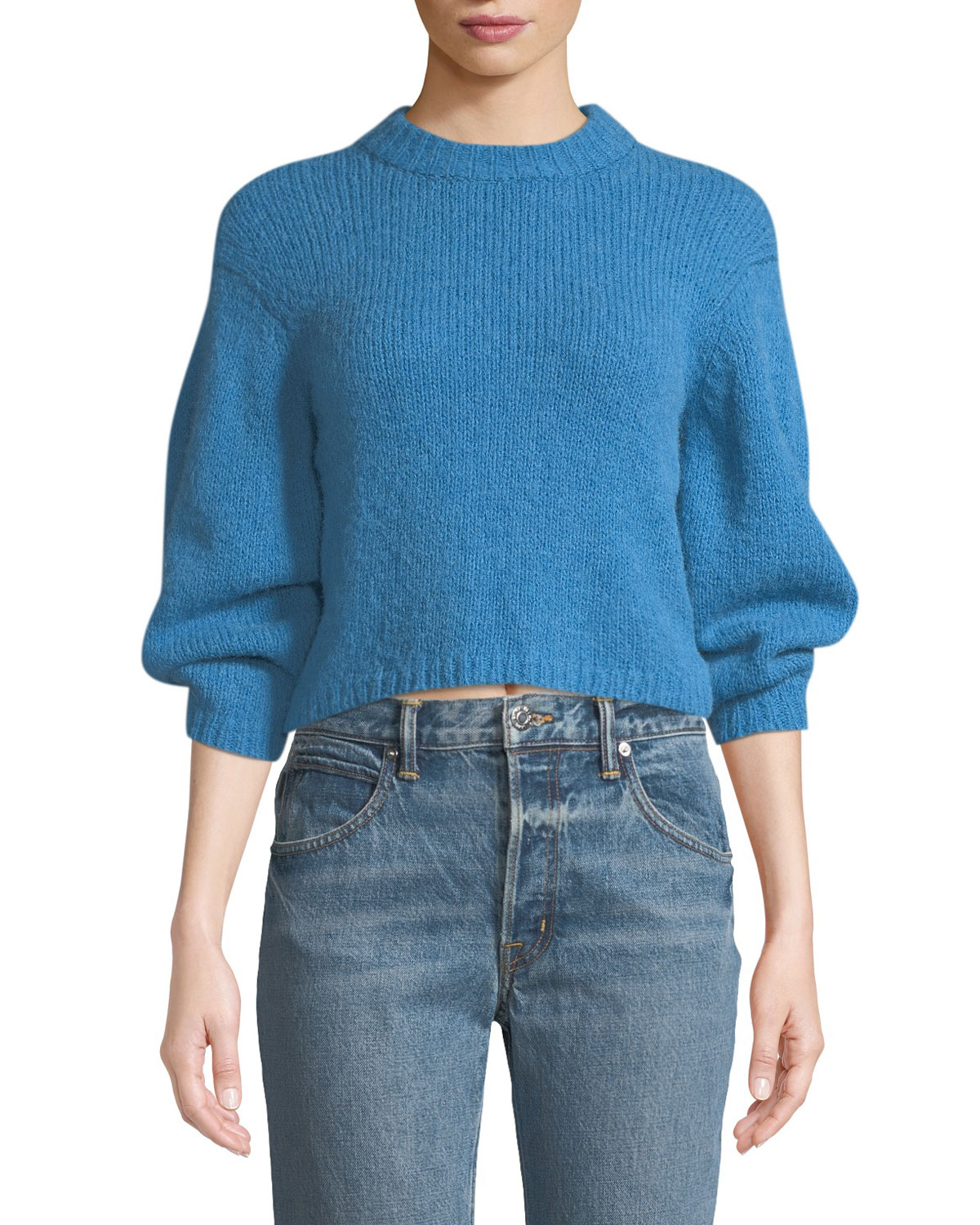 Cozette Alpaca & Wool Blend Crop Sweater in Blue
