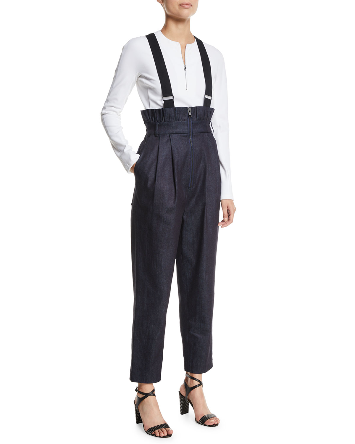 Denim Paperbag Overalls With Removable Straps in Blue