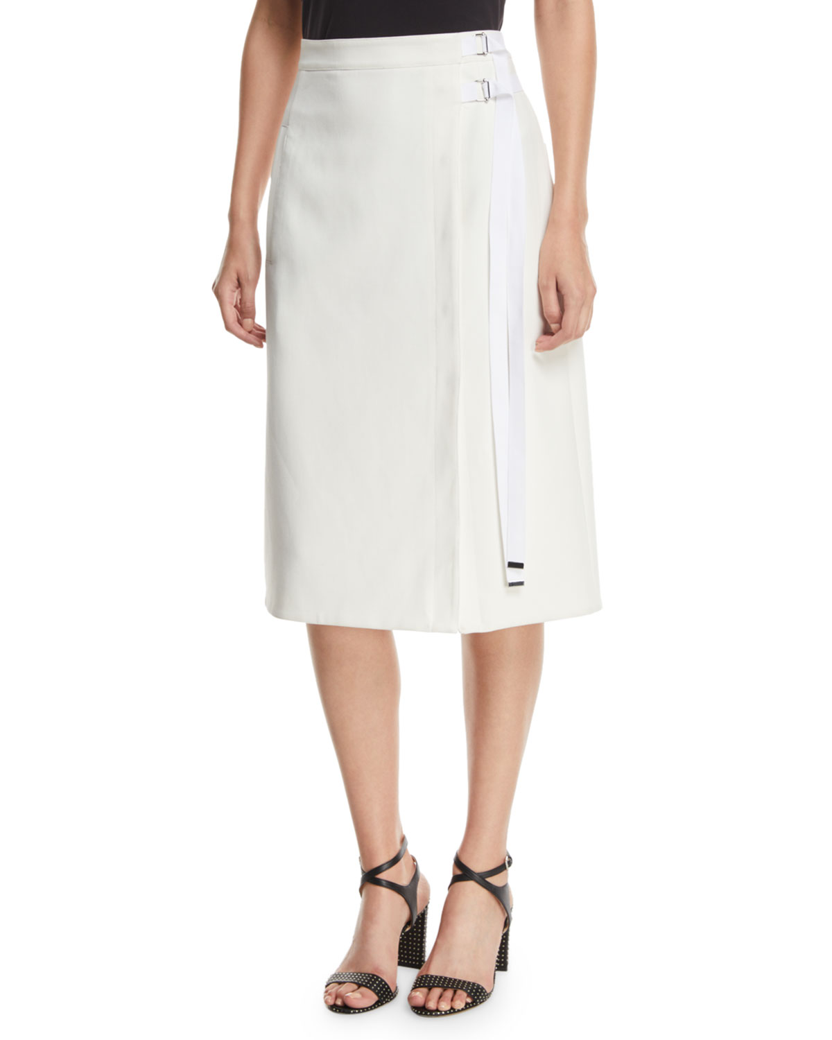 Anson Stretch A-Line Belted Skirt, White