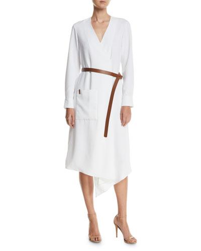Draped Twill Midi Wrap Dress w/ Belt