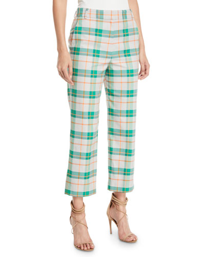 Taylor Plaid Mid-Rise Straight-Leg Pants