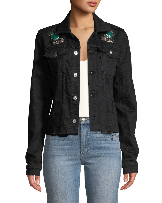 7 FOR ALL MANKIND Embellished Frayed Denim Trucker Jacket in Black Pattern