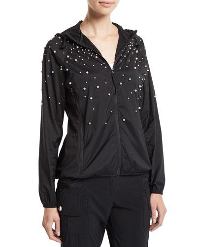 Long-Sleeve Hoodie Jacket w/ Pearly Detail