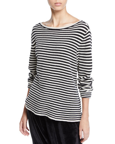 Plus Size Chenille Striped Sweater