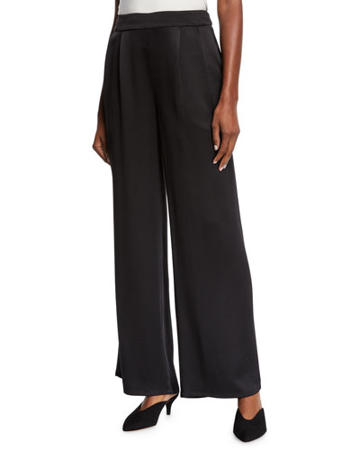 c77728660d Quick Look. Eileen Fisher · Silk Crepe Pleated-Waist Wide-Leg Pants.  Available in Black