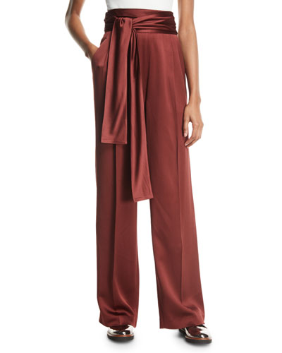Waist-Tie Wide-Leg Crepe Satin Pants
