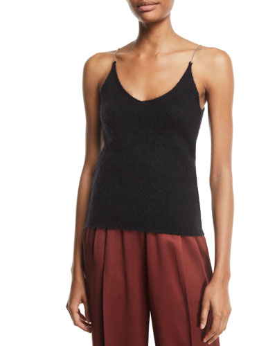 Brushed Mohair Scoop-Neck Tank with Rhinestones