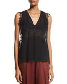 3.1 Phillip Lim Silk V-Neck Lace Tank and