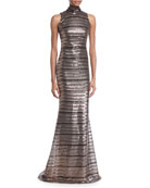 Badgley Mischka Collection Sleeveless Striped Sequin Trumpet Gown