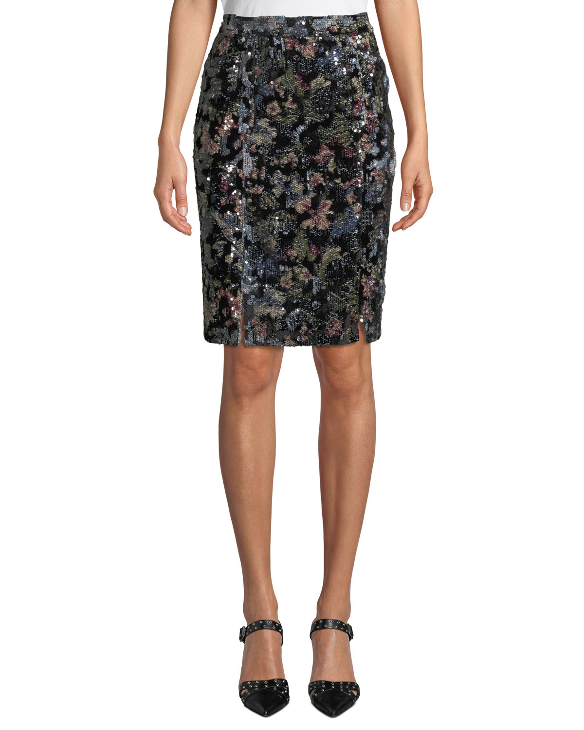 Double-Vented Sequin Floral Skirt