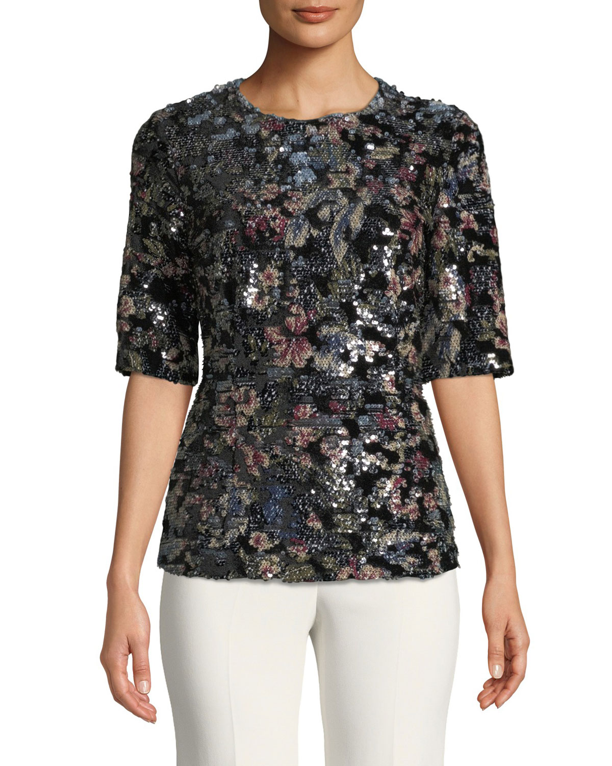 Fitted Sequin Floral Top