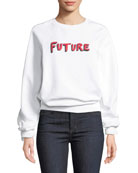 Bella Freud Future Crewneck Raglan Cotton Sweatshirt