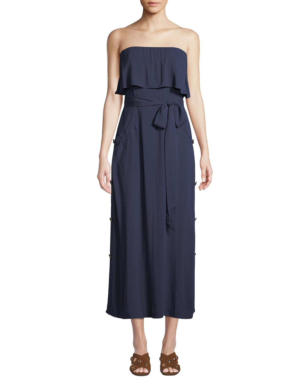 VIX Glenda Strapless Tie-Front Long Coverup Dress in Indigo