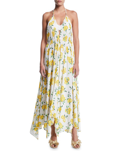 lemon-print halter coverup maxi dress