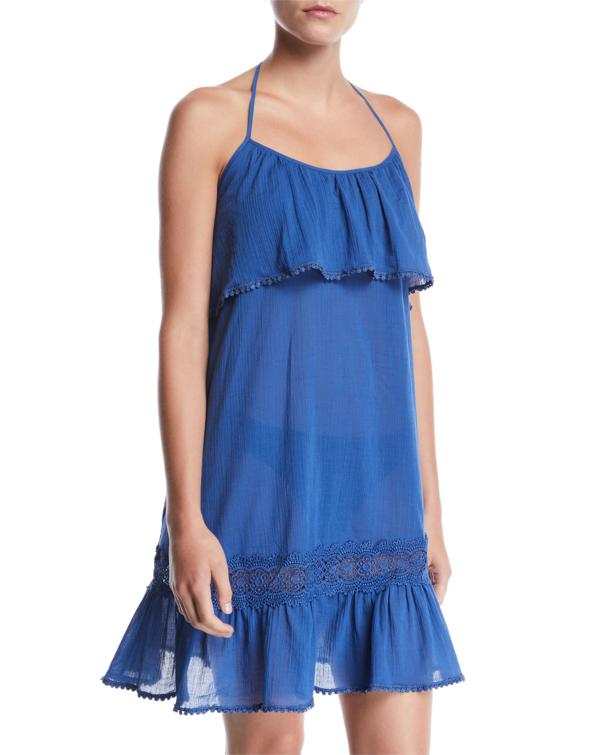 halter ruffle embroidered coverup dress