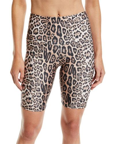 High-Rise Leopard-Print Activewear Bike Shorts